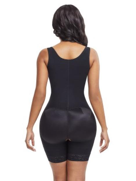 Skinny Black Plus Size Underbust Bodysuit Zipper Bodycon
